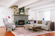 An understated palette in an eclectic living room