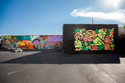 Contrasting artistic styles of graffiti in the Wynwood Walls open-air exhibition space