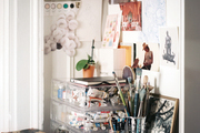 A work space with art supplies