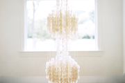 A three-tiered capiz-shell chandelier