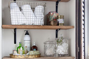 Rustic storage for bathroom necessities