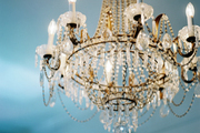 An antique crystal chandelier