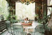 A lattice-covered outdoor dining area