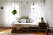 A functional daybed serves as a sofa or guest bed