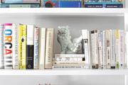 A color-coded bookcase with foo dogs