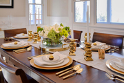 Entertaining with contemporary gold accents.