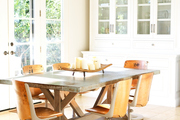 An industrial dining table and chairs.