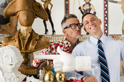 Tastemakers Simon Doonan (left) and Jonathan Adler in their eclectic, contemporary home