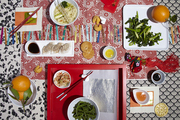 Tabletop with a classic Chinese New Year spread.
