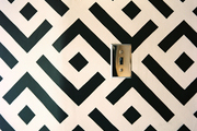A black-and-white pattern on an accent wall