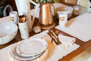 A detail of a tablescape.