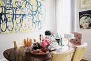 A dining space filled with art