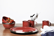 Red melamine dishes, bowls, and nugs