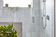 Plants add life to this modern, minimalist shower.