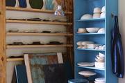 Shelving in Michele Michael's Elephant Ceramics studio