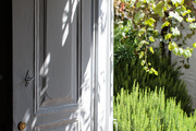 A grouping of rosemary shrubs outside a front door