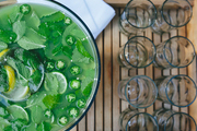 A refreshing bowl of punch is served at a Bastille Day dinner party in Charleston, South Carolina
