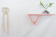Pink shelf and rope wall hanging on a white wall.