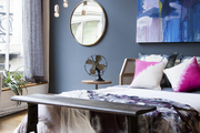 The bedroom in a loft designed by Athena Calderone for CB2