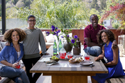 Bridgid Coulter, Don Cheadle, and daughters Tai and Imani on the upstairs terrace of their Los Angeles home