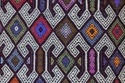 A detail of a Bohemian runner rug.