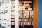 A ladder propped against shelves of books