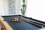 A pool table with a cactus in the corner of the room.