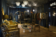 An eclectic retail store with gold accents.