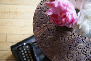 Peony on a decorative wood side table