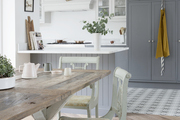 A rustic wooden dining table.