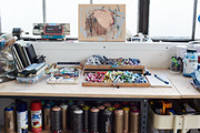 A detail of a painter's workspace.