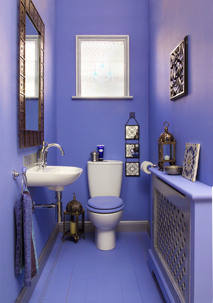 Downstairs toilet photos 6 of 8 lonny for Blue and purple bathroom ideas