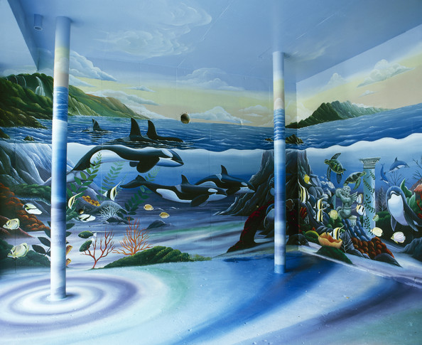 Underwater themed room eclectic wall treatment