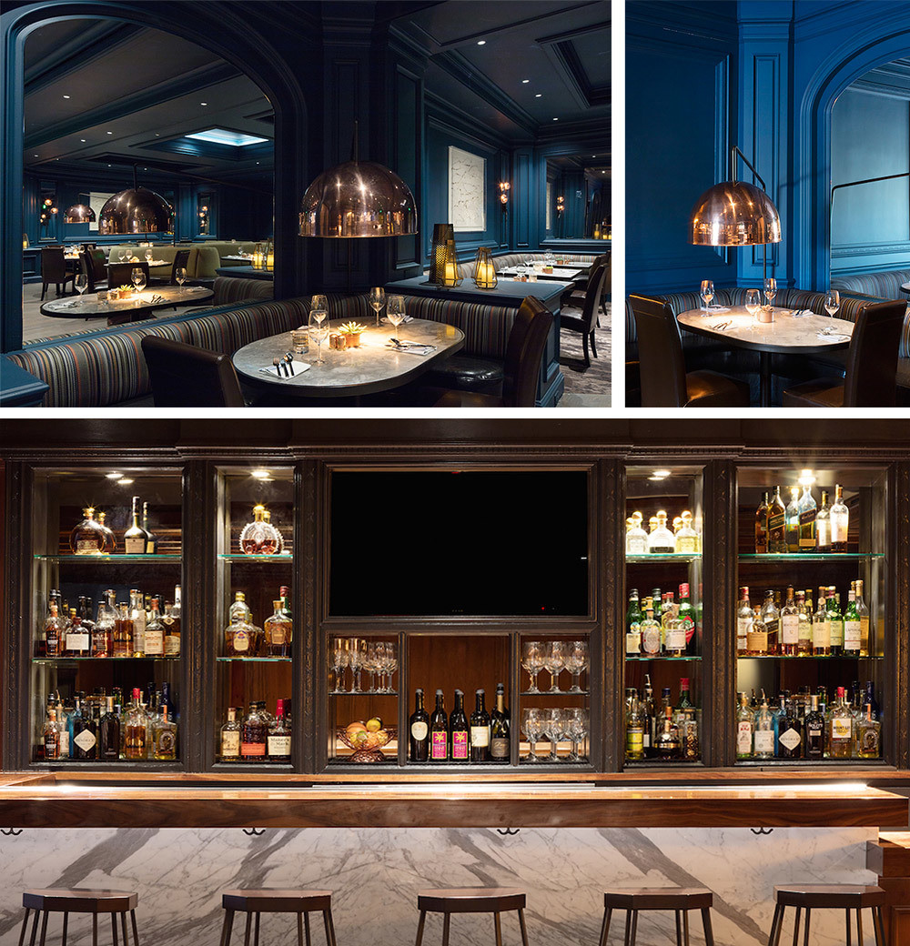 The hotel's 56-seat restaurant, Artizen, was designed with intimacy in mind. The striking cobalt blue on the walls envelops guests with a chic, cave-like atmosphere while strategically-placed mirrors and skylights bounce light around the space during the day. At night, sparkling copper pendants illuminate each banquette from above; Originally a cigar bar, The Bee's Knees lounge is one of three bar and lounge spaces in the hotel and is accessed through the lobby.