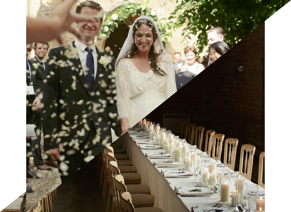 FROM TOP The couple exited to flower petals strewn by their guests. The dinner tables were lit by candles.