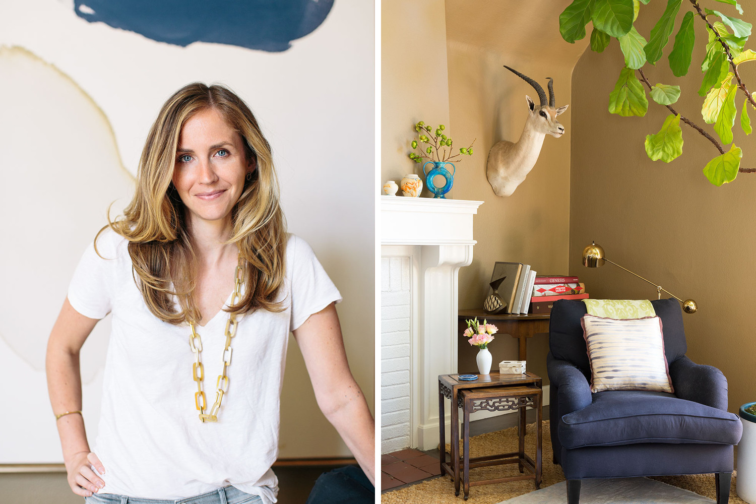 Chloe Warner of Redmond Aldrich Design at home in Oakland, California. Prop styling by Leila Nichols.