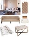 Clockwise from top left: Mischa Lampert's Manhattan apartment (photographed by Genevieve Garruppo); Studs Leather Phone Case: $108; The Case Factory; Tufted Container byMichiko Shimada: $38, Michele Varian; Threshold Tufted Bench: $100, Target; Tufted Leather Wallpaper: $60 per roll, Koziel