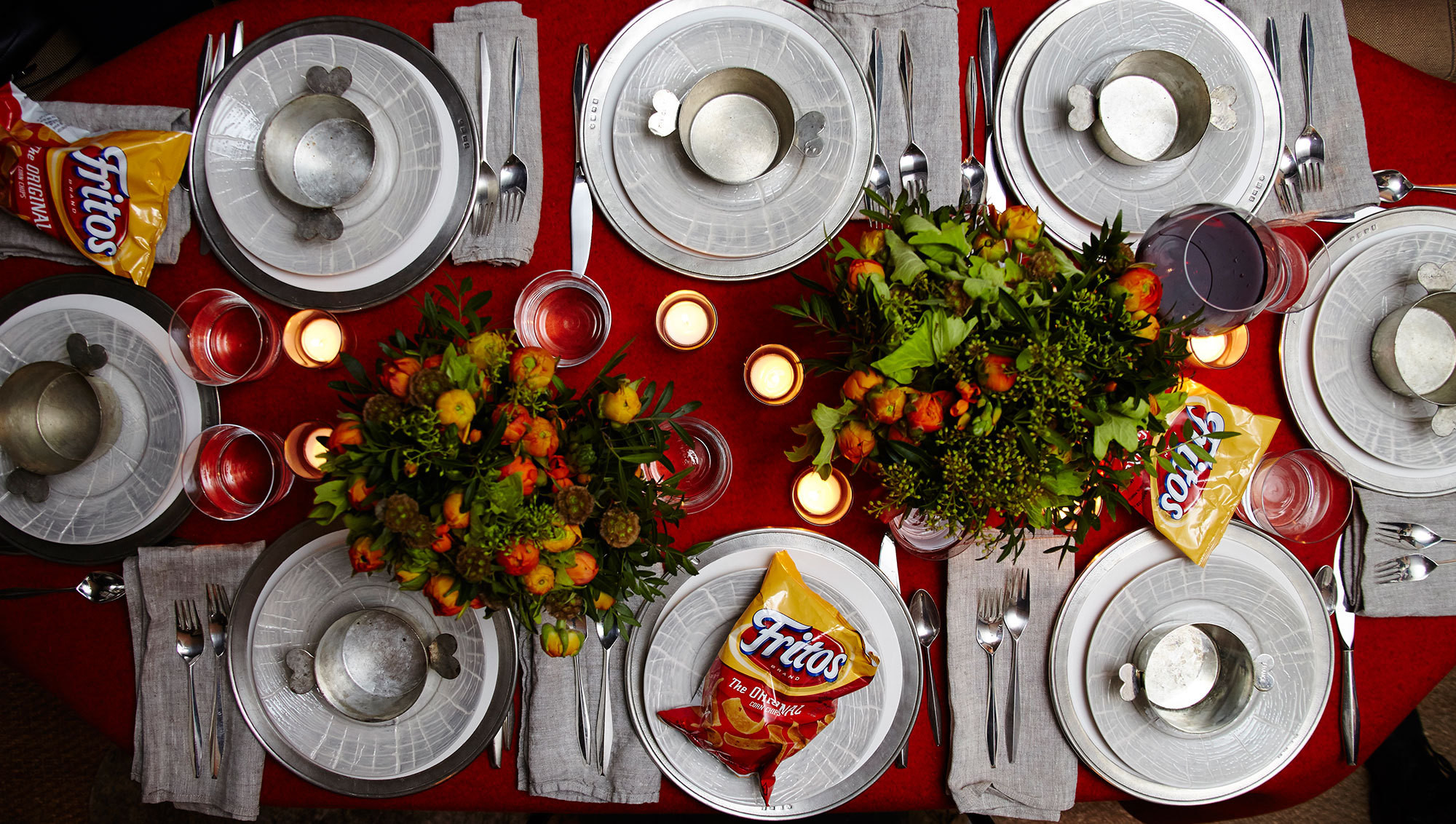 """Who says you can't have a theme for a simple Friday night in? Wintery forecasts inspired Samuel Mastersto have a handful of friends over for a """"Sweater Weather Chili Dinner Party,"""" complete with a full-blown set table right in the middle of his apartment."""