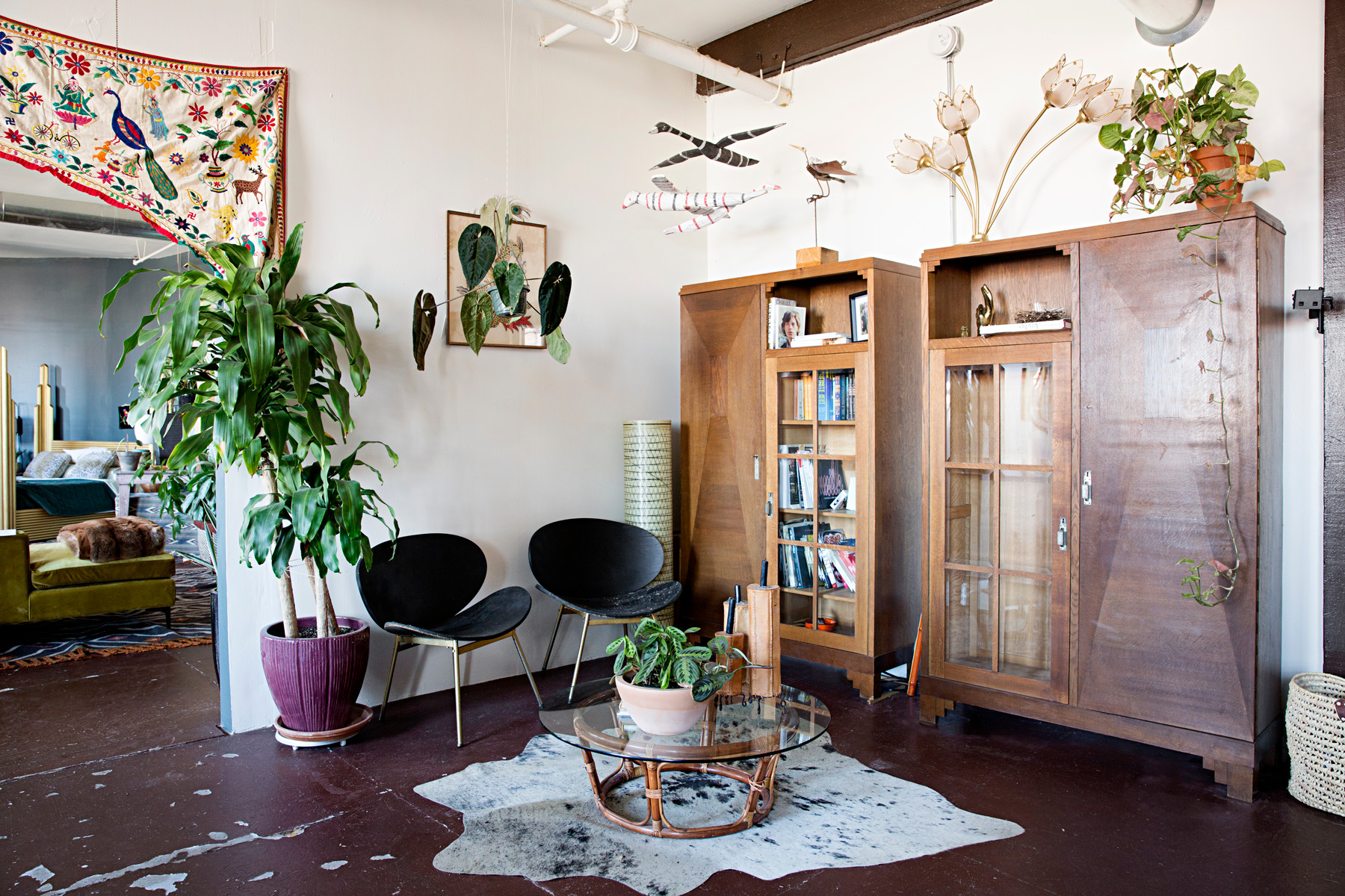A cool seating area filled with all of the designer's vintage finds.