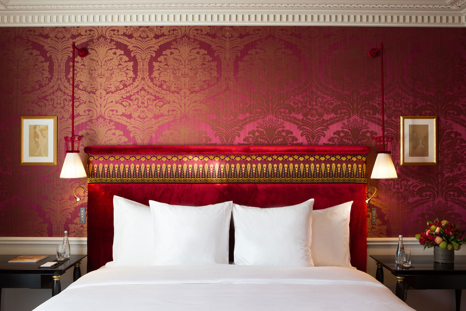 Damask-covered walls and velvet headboards are just a fewof the Belle Époque–style details on display at the Jacques Garcia–designed La Réserve Paris.