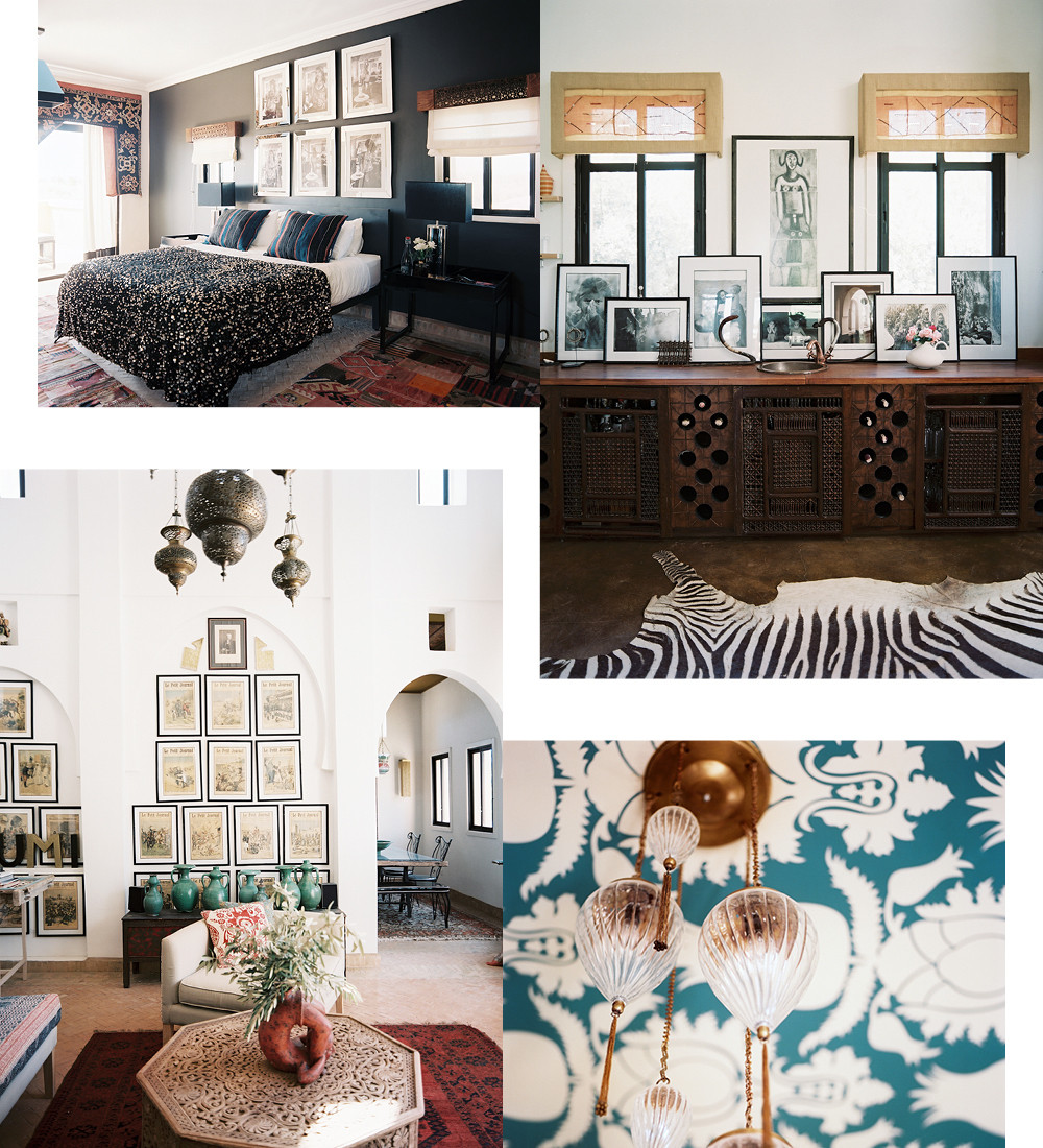 Clockwise from top left: A black Moroccan wedding blanket, used here as a coverlet, is of Montague's own design; Montague's black-and-white photographs are showcased throughout the hotel, including those decorating the bar of the main house's formal dining room; A hanging light fixture pops agains a stenceled ceiling; Vintage French newspaper illustrations line serene, white walls.