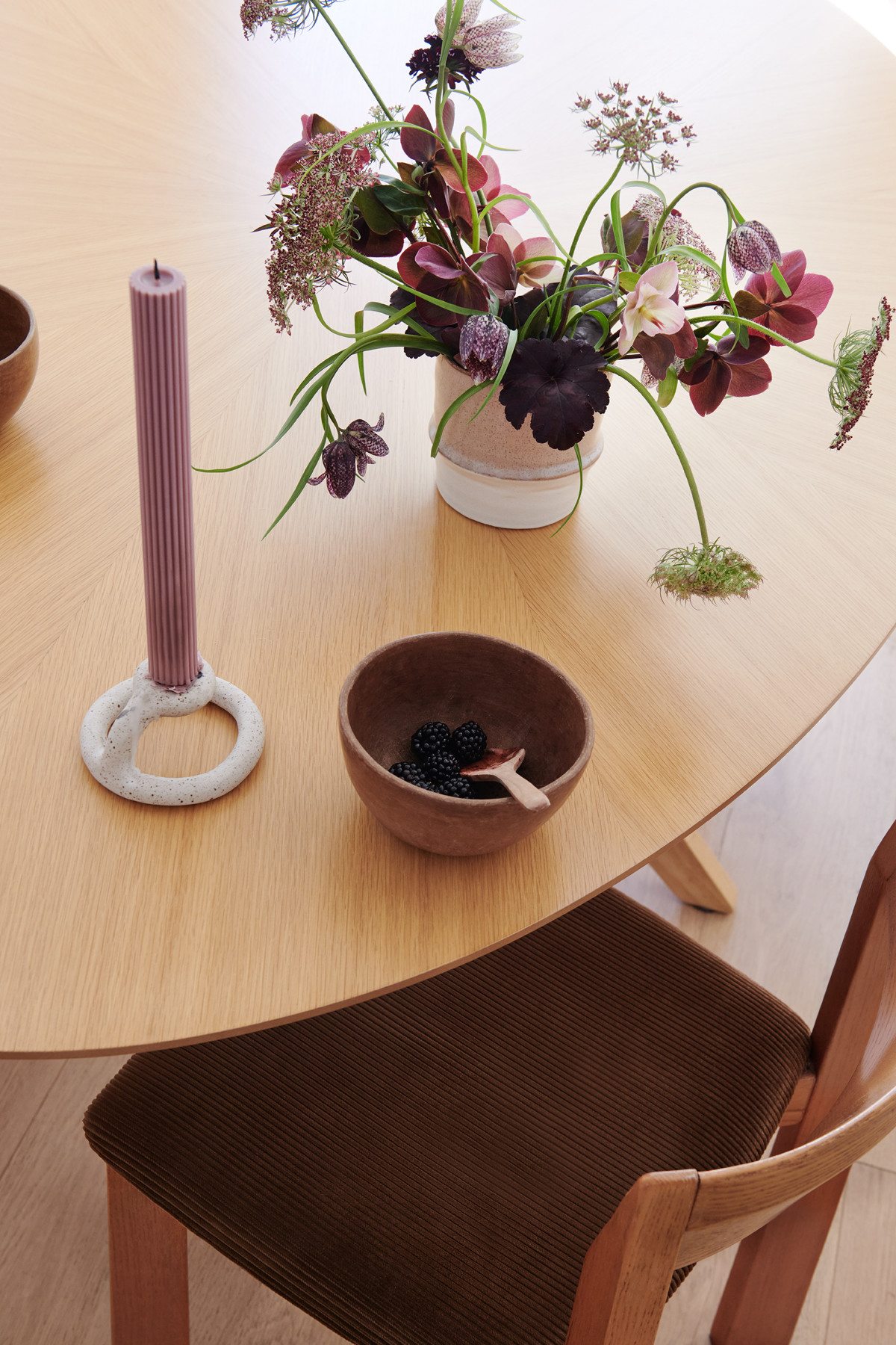 Craigslist Table And Credenza| Pink Paloma Arrangement|Virginia Sin Candle Holder| Mexican Bowl.
