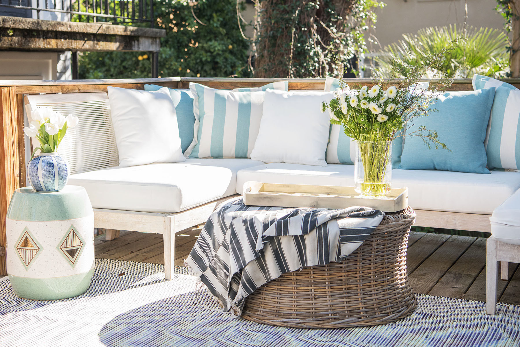 """In the past year, we've been working on our outdoor space. It's really an extension of our family room, and we love spending time out there especially when we have company over."" Safavieh Patio Furniture 