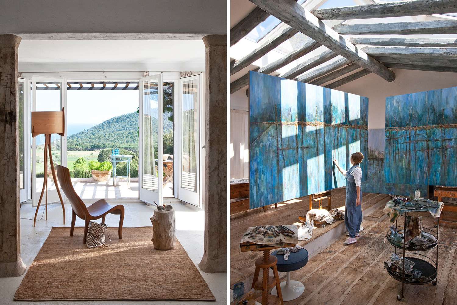 Artist and color forecaster Pepa Poch's Catalonia home is filled with spaces for relaxation and creation. Poch's artworks are available through Barcelona Design Gallery.