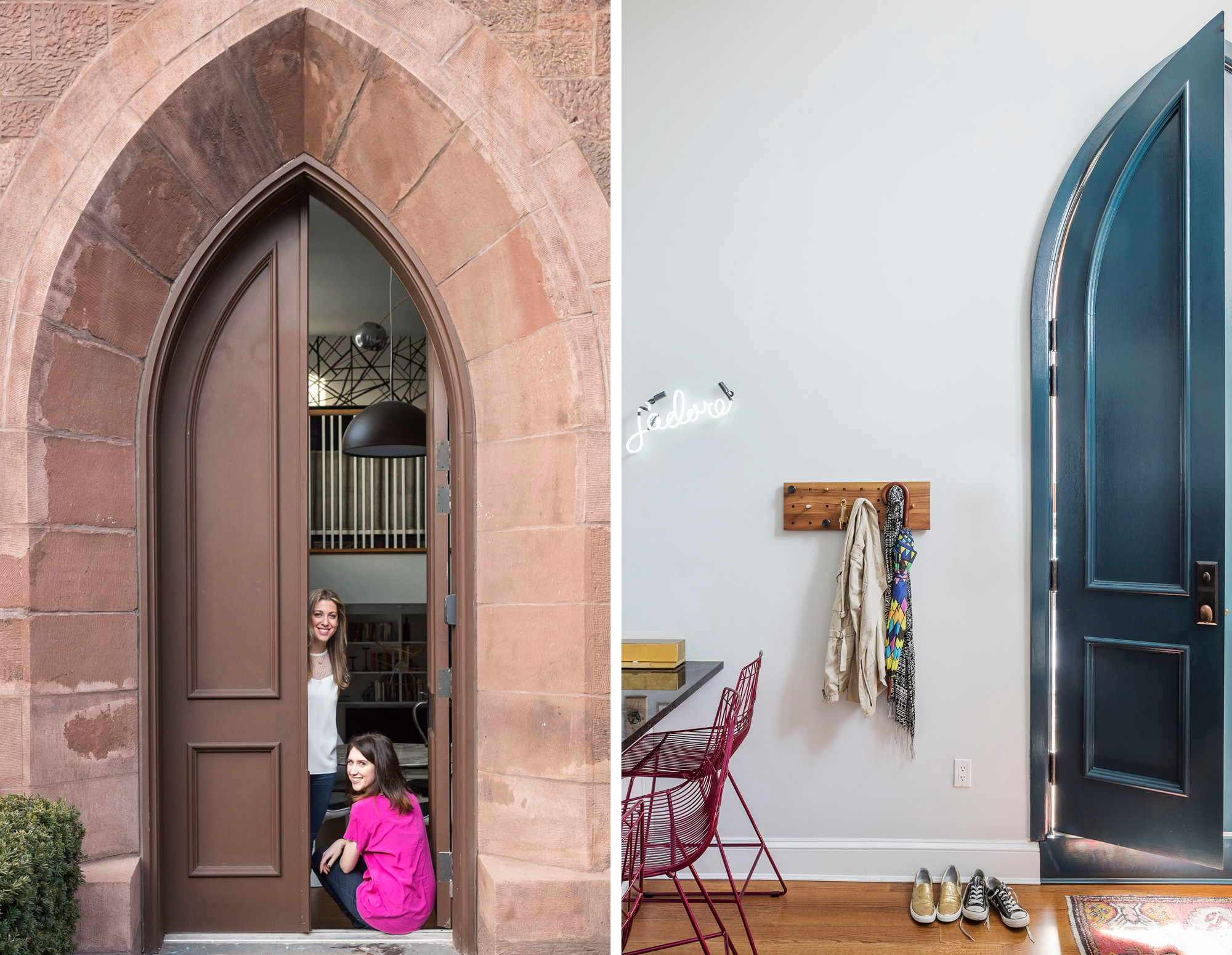 Lindsay Boswell and Ali Leven, founders of the Brooklyn-based interior design firm LABLstudio. Stately doors give way to a welcoming entry area. Photos © Matthew Williams.