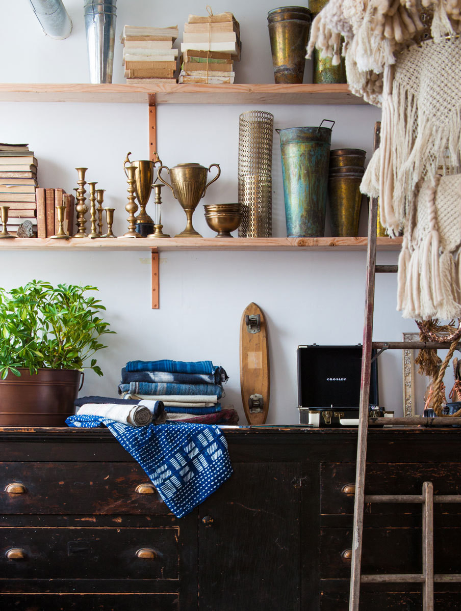 A shelf installation proves why Patina is aptly named.