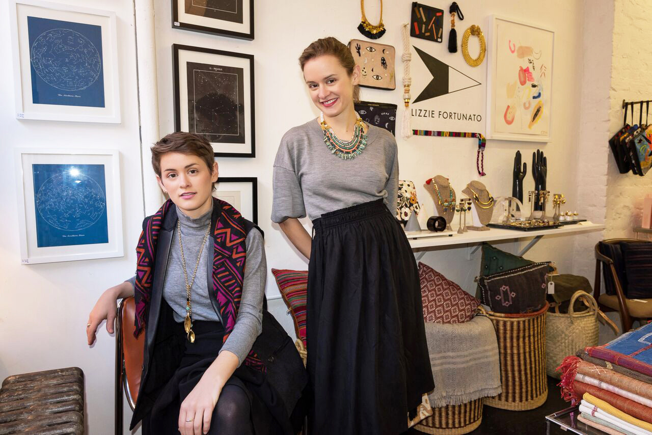Twin sisters Lizzie and Kathryn Fortunato in their East Village pop-up shop.