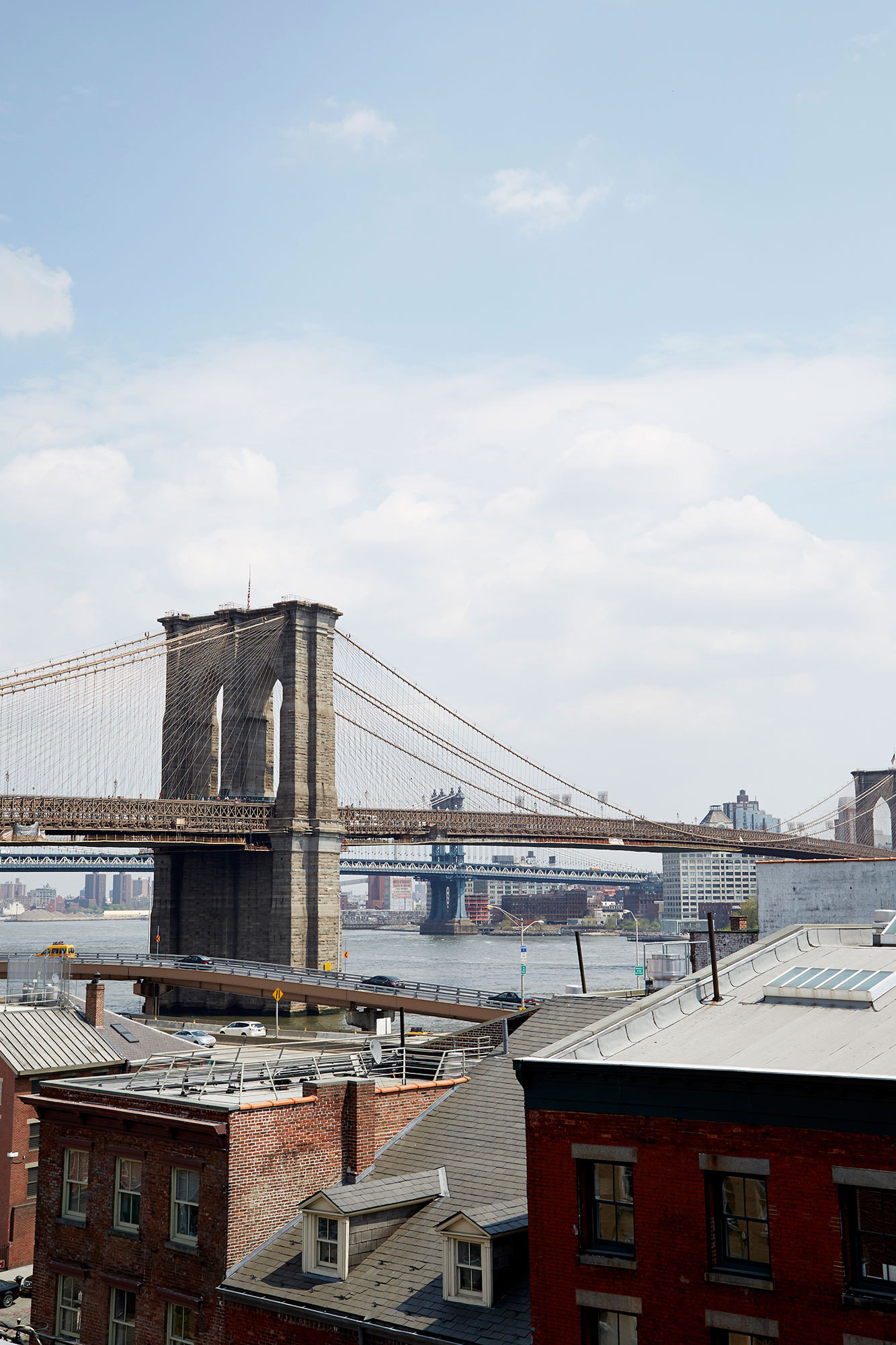 A view of the Brooklyn Bridge from the South Street Seaport historic district.