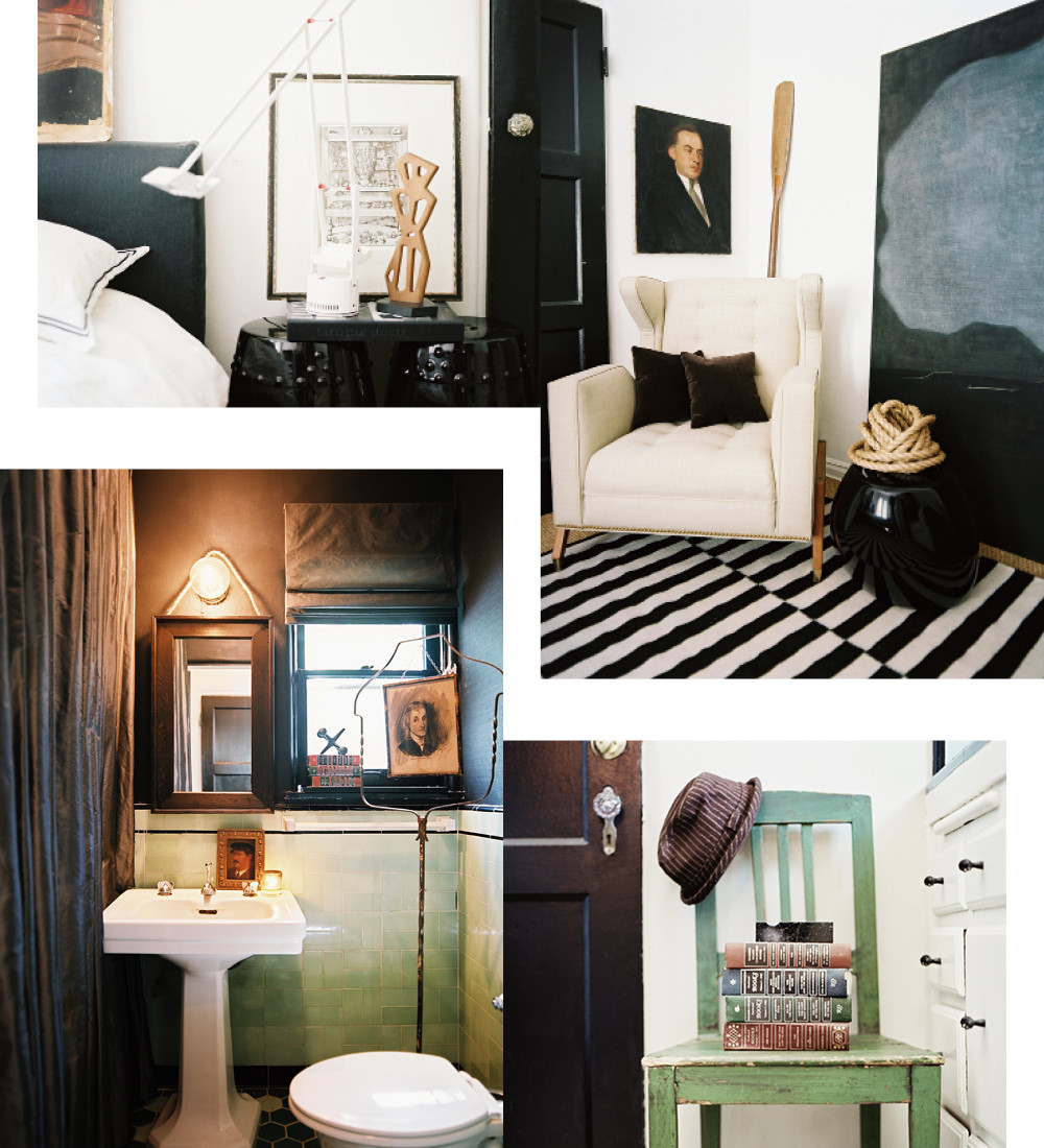 "Clockwise from top left: In place of a bedside table, Straus used a pair of glazed ceramic garden stools; ""A bedroom with a sitting area feels warmer and more inviting,"" says Straus. ""It feels like a hotel suite.""; vintage books continue the thoughtful feel created by Straus&squot; curated collections; always reimagining and reinterpreting, Straus suspended an antique charcoal portrait from a birdcage stand."