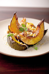 Perfect Thanksgiving Side: Acorn Squash with Hazelnuts, Parmesan, and Honey
